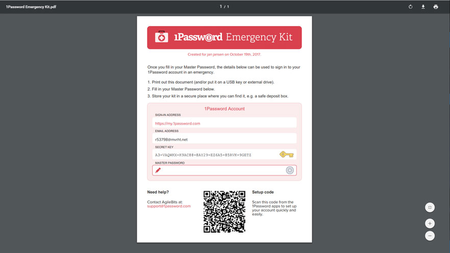 1password emergency kit
